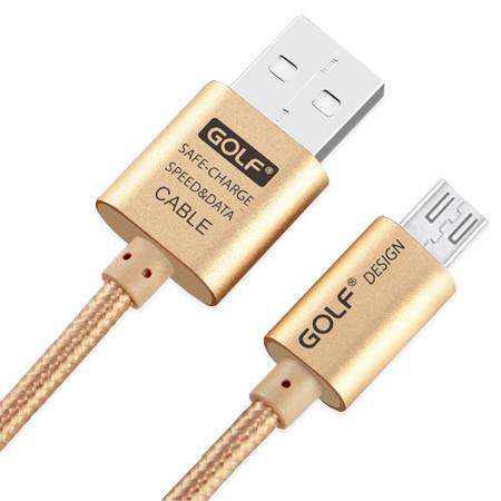 สายชาร์จ Micro USB GOLF หุ้มผ้าถักสีทอง