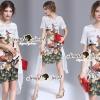 Closet Seoul Secret Say's... Embellish Chiffon Flamingo Print Dress