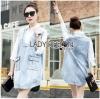 Lady Ribbon Korea Dressเสื้อผ้า Denim LR18010816 &#x1F380 Lady Ribbon's Made &#x1F380 Lady Lola Minimal Preppy Denim and Cotton Shirt Dress เดรสผ้าคอตตอน