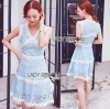 Lady Ribbon เสื้อผ้าเกาหลี LR01110716 &#x1F380 Lady Ribbon's Made &#x1F380 Lady Ariana Sweet Feminine White and Blue Lace Dress เดรสผ้าลูกไม้