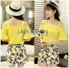 Lady Ribbon Korea Dress &#x1F380 Lady Ribbon's Made &#x1F380 Lady Babara Summer Sunshine Off-Shoulder Top and Printed Skirt Set
