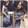 Lady Ribbon Korea LR11190516 &#x1F380 Lady Ribbon's Made &#x1F380 Lady Korea Daria Mysterious Printed Shirt Maxi Dress with Black Lace Corset