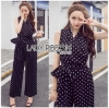Black and White Lady Polkadot Jumpsuit