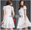 Lady Ribbon เสื้อผ้าเกาหลี LR12140716 &#x1F380 Lady Ribbon's Made &#x1F380 Lady Gabriela Crystal Embellished Flower White Lace Dress เดรสผ้าลูกไม้สีขาว