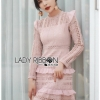 Lady Evelyn Frilled & Ruffle Pastel Lace Dress
