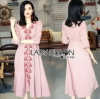 Lady Ribbon Pink Denim Dress