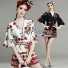 Lady Ribbon Korea Dress LR16160616 &#x1F380 Lady Ribbon's Made &#x1F380 Lady Kim Spring Floral Printed Viscose Playsuit เพลย์สูทขาสั้น