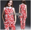 Lady Ribbon Korea LB06160516 &#x1F380 Lady Ribbon's Made &#x1F380 Lady Kimberley Korea Spring Red Floral Printed Collared Top and Pants Set
