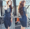 Chic Striped Top and Denim Lady Ribbon Dress