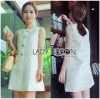 Lady Ribbon Korea Dress LR08200616 &#x1F380 Lady Ribbon's Made &#x1F380Lady Ashley Vintage Elegant Brocade Dress with Crystal Buttons