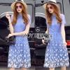 Lady Ribbon Korea Dressเสื้อผ้า LR02010816 &#x1F380 Lady Ribbon's Made &#x1F380 Lady Amanda Sweet Feminine Butterfly Embroidered Polyester Dress เดรสผ้าโพลี