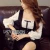 Black & White Lady Ribbon Polkadot Dress