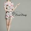 Lady Ribbon Korea Brand SW07060616 Sweet Bunny Present... Roses Shorts Set