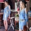 Lady Ribbon Korea Dress &#x1F380 Lady Ribbon's Made &#x1F380 Ashley Summery Off-Shoulder Denim Cotton and Lace Dress เดรสเปิดไหล่