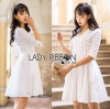 Lady Ribbon Korea เสื้อผ้าเกาหลี ของแท้พร้อมส่ง Lady Ribbon Dress LR18250716 &#x1F380 Lady Ribbon's Made &#x1F380 Lady Catrina Classic White Laser-Cut and Embroidered Cotton Dress