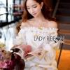 Lady Ribbon Korea Mini Dress LR04270616 &#x1F380 Lady Ribbon's Made &#x1F380Lady Ashley Emy Summery Off-Shoulder Gold Feather Embroidered Organza Dress เ