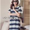 Lady Ribbon Korea Dress LR04200616 &#x1F380 Lady Ribbon's Made &#x1F380 Lady Catherine Colourful Striped Lace Dress with Ruffled Sleeves เดรสผ้าลูกไม้