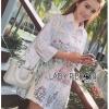 Lady Ribbon Korea Dress เชิ้ต LR09130616 &#x1F380 Lady Ribbon's Made &#x1F380 Lady Nicole Artful Dreamy Embroidered Cotton Shirt in White Dress เชิ้ตผ้าคอตตอน