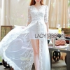 Lady Ribbon White Tulle and Lace Dress