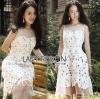 Lady Ribbon Korea Dress LR02230616 &#x1F380 Lady Ribbon's Made &#x1F380 Lady Zoe Sweet Elegant Organza and Floral Lace Dress เดรสผ้าลูกไม้