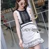 Black & White Lace Lady Ribbon Mini Dress