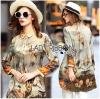 Lady Ribbon Korea Dress LR11160616 &#x1F380 Lady Ribbon's Made &#x1F380 Lady Natalie Natural Wild Birdie Printed Shirt Dress