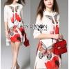 Lady Ribbon Korea LR16200616 &#x1F380 Lady Ribbon's Made &#x1F380 Lady Samantha Smart Sensual Natural Printed Viscose Dress เ