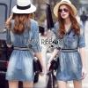 Lady Ribbon Korea Dress LR03160616 &#x1F380 Lady Ribbon's Made &#x1F380 Lady Jennifer Sporty Chic Denim Mini Dress