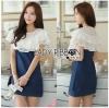 Lady Ribbon Korea Dress Denim LR01300616 &#x1F380 Lady Ribbon's Made &#x1F380 Lady Elena Laser-Cut Ruffle Cotton and Denim Mini Dress