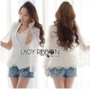 Lady Ribbon White Lace Jacket