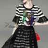 Lady Ribbon Korea Brand SW 06060616 Sweet Bunny Present... Stripe A-line Dress With Black Lace Skirt Set