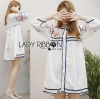 Lady Ribbon Korea Dressเสื้อผ้า LR08010816 &#x1F380 Lady Ribbon's Made &#x1F380 Lady Alexandria Country Feminine Flower Embroidered Button-Down Cotton Dress