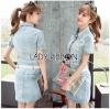 Lady Ribbon เสื้อผ้าเกาหลี LR09140716 &#x1F380 Lady Ribbon's Made &#x1F380 Chanel White Lace Denim Shirt Dress with Belt เชิ้ตเดรส