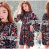 Lady Ribbon Korea LR16230516 &#x1F380 Lady Ribbon's Made &#x1F380 Lady Tamara Illustrated Floral Printed Flared-Sleeve Mini Dress