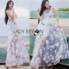 Lady Ribbon Korea LB05160516 &#x1F380 Lady Ribbon's Made &#x1F380 Lady Blaire Fairy Tale Butterfly Embroidered Organza Maxi Dress เดรสแขนกุด