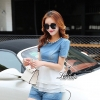 Lady Ribbon Korea Closet Design Korea Design By Lavida pearl decoration neck short sleeve top denim pants chic set