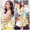 Lady Ribbon Dress Lady Ribbon Korea LR19190516 &#x1F380 Lady Ribbon's Made &#x1F380 Lady Chloe Yellow Mellow Floral Printed Button Dress เดรสแขนกุด