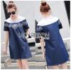 Lady Ribbon Korea Denim Dress LR16230616 &#x1F380 Lady Ribbon's Made &#x1F380 Lady Wendy Embroidered Denim Dress with Frilled Cotton Neck
