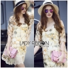 Lady Ribbon's Made &#x1F380 Lady Jocelyn Spring Casual Yellow Floral Printed Chiffon and Lace Dress เ