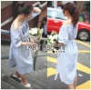 Lady Ribbon Korea Maxi Dress LR06130616 &#x1F380 Lady Ribbon's Made &#x1F380 Lady Maria Summer Casual Floral Embroidered Off-Shoulder Blue&White Maxi Striped Dress