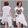 Lady Ribbon Korea Dressเสื้อผ้าเชิ้ต LR19010816 &#x1F380 Lady Ribbon's Made &#x1F380 Lady Kimberley Butterfly Embroidered Asymmetric Chiffon Long Top เสื้อตัวยาว