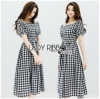 Off-Shoulder Lady Ribbon Checked Dress