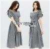 Off-Shoulder Lady Ribbon Checked Dress