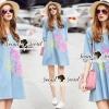 Lady Ribbon Korea Brand SS03300516 Seoul Secret Say's... Pastel Fink Paint Denim Dress