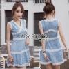 Lady Ribbon Korea เสื้อผ้าเกาหลี ของแท้พร้อมส่ง Lady Ribbon Dress LR10250716 &#x1F380 Lady Ribbon's Made &#x1F380 Lady Ariana Sweet Feminine White and Blue Lace Dress เดรสผ้าลูกไม้สีฟ้า