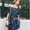 Lady Ribbon Korea Korea Shop LR08230616 &#x1F380 Lady Ribbon's Made &#x1F380 Lady Sophia Playful Chic Off-Shouldered Sparkling Stars Tulle Dress Shop