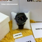 Diesel Men's Little Daddy DZ7293 Black Leather Quartz Watch with Grey Dial