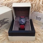 Burberry Sport Chronograph Black Dial Red Rubber Men's Watch BU7706