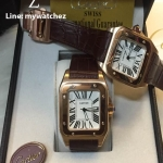 Cartier Sanos 100 W20073X8 Rose Gold Brown Strap