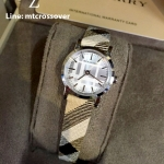Burberry Engraved Dial Plaid Checked Signature Band Watch BU1759